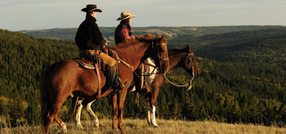 Cowboys auf Pferden überblicken ihr Land Saskatchewan Kanada